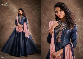 Navy Blue Silk Party Wear Embroidery Work Gown With Dupatta
