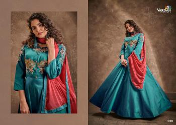 Sky Blue Silk Party Wear Embroidery Work Gown With Dupatta