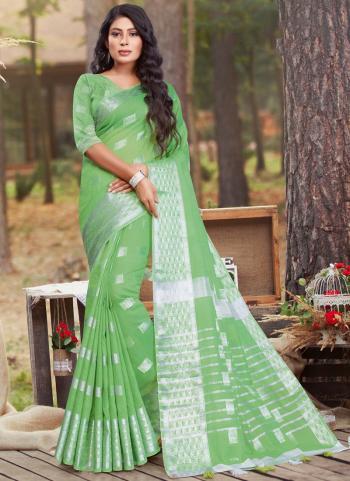 Light green Cotton Casual Wear Linen Saree