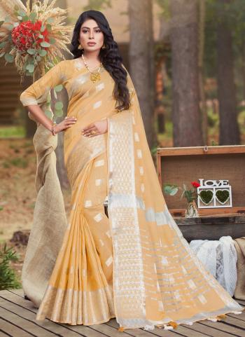 Peach Cotton Casual Wear Linen Saree