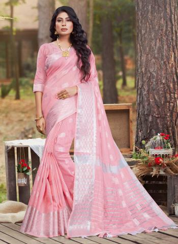 Pink Cotton Casual Wear Linen Saree