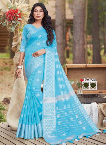 Sky Blue Cotton Casual Wear Linen Saree