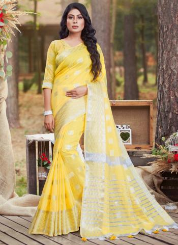 Yellow Cotton Casual Wear Linen Saree