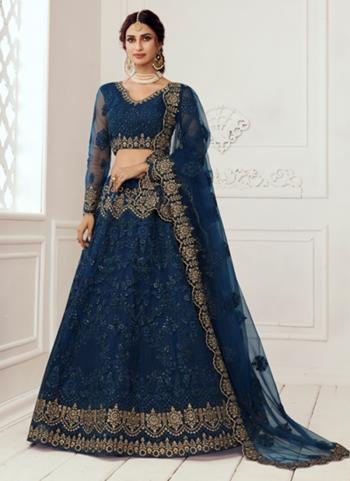 Blue Net Wedding Wear Thread Work Lehenga Choli