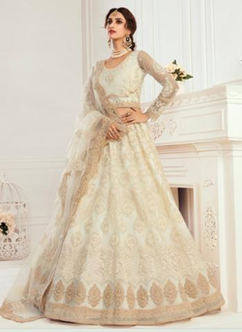 Cream Net Wedding Wear Thread Work Lehenga Choli