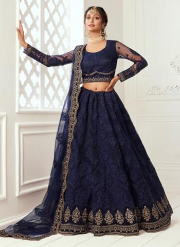 Deep Blue Net Wedding Wear Thread Work Lehenga Choli