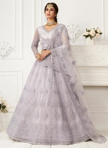 Lavender Net Wedding Wear Thread Work Lehenga Choli