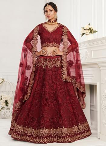 Maroon Net Wedding Wear Thread Work Lehenga Choli