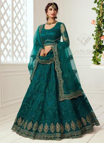 Teal Green Net Wedding Wear Thread Work Lehenga Choli