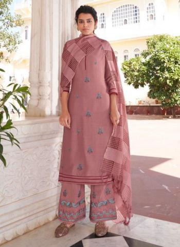 Dark Pink Modal Viscose Party Wear Embroidery Work Readymade Palazzo Suit
