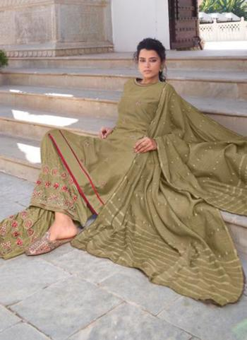 Olive Green Modal Viscose Party Wear Embroidery Work Readymade Palazzo Suit