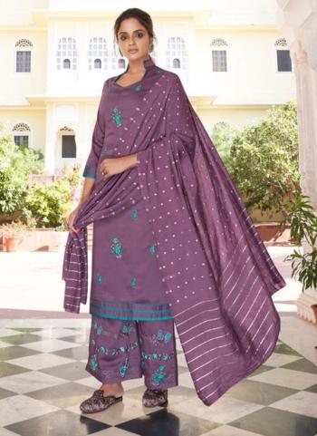 Purple Modal Viscose Party Wear Embroidery Work Readymade Palazzo Suit