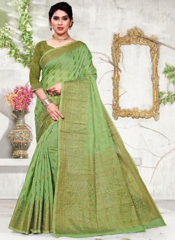Green Cotton Festival Wear Jacquard Saree