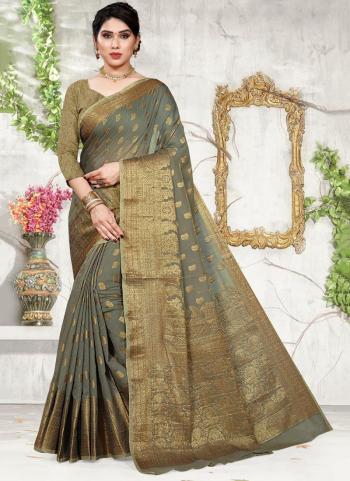Grey Cotton Festival Wear Jacquard Saree