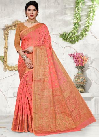 Pink Cotton Festival Wear Jacquard Saree