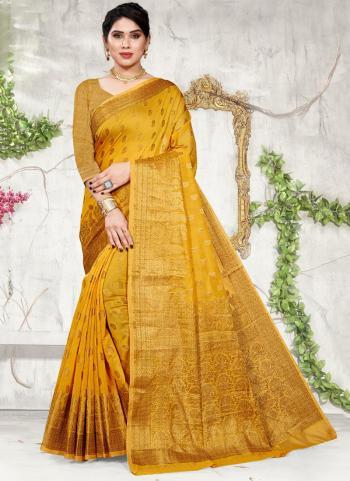 Yellow Cotton Festival Wear Jacquard Saree