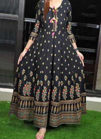 Black Cotton Casual Wear Printed Work Long Gown