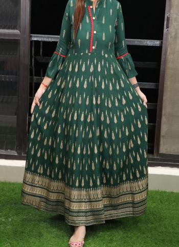Green Cotton Casual Wear Printed Work Long Gown