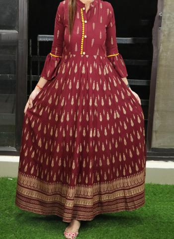 Maroon Cotton Casual Wear Printed Work Long Gown