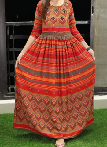 Orange Cotton Casual Wear Printed Work Long Gown