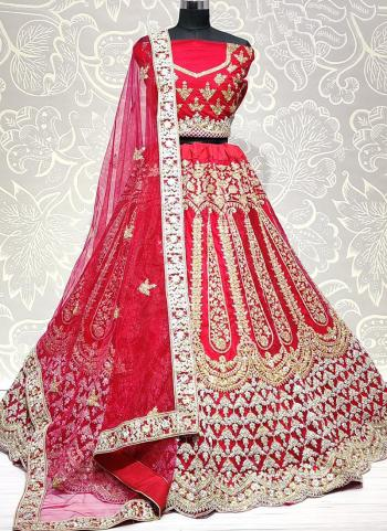 Pink Net Wedding Wear Embroidery Work Lehenga Choli