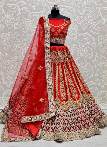 Red Net Wedding Wear Embroidery Work Lehenga Choli