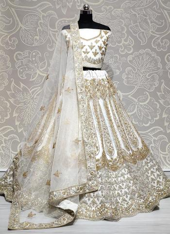 White Net Wedding Wear Embroidery Work Lehenga Choli