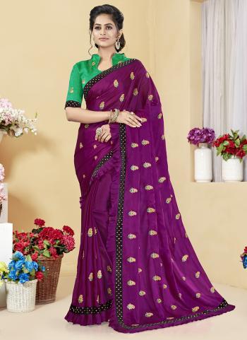 Violet Rangoli Silk Party Wear Embroidery Work Saree