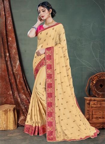 Beige Satin Chiffon Traditional Wear Embroidery Work Saree