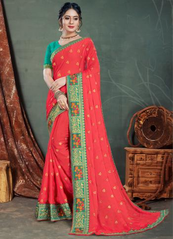 Dark Pink Satin Chiffon Traditional Wear Embroidery Work Saree