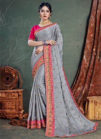 Grey Satin Chiffon Traditional Wear Embroidery Work Saree