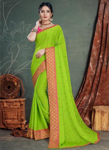 Light green Satin Chiffon Traditional Wear Embroidery Work Saree