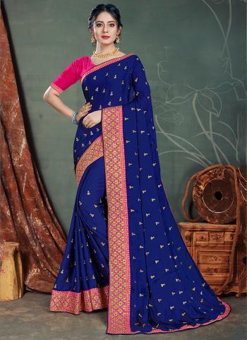 Navy Blue Satin Chiffon Traditional Wear Embroidery Work Saree