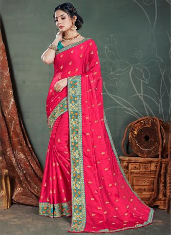 Pink Satin Chiffon Traditional Wear Embroidery Work Saree