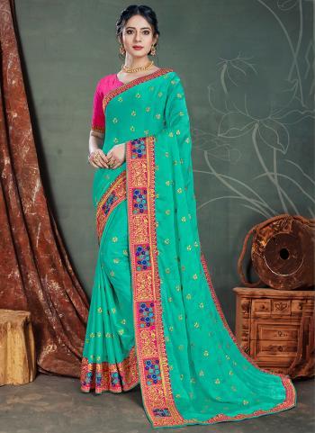 Teal Green Satin Chiffon Traditional Wear Embroidery Work Saree