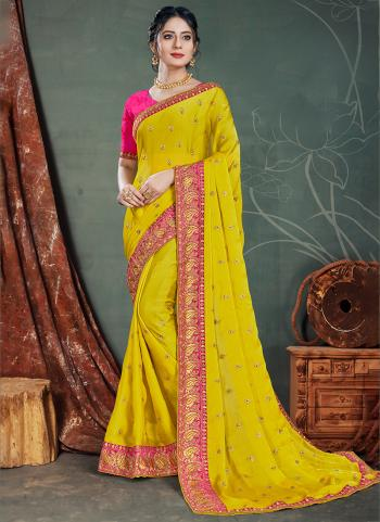Yellow Satin Chiffon Traditional Wear Embroidery Work Saree