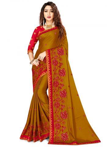 Brown Rangoli Silk Festival Wear Embroidery Work Saree