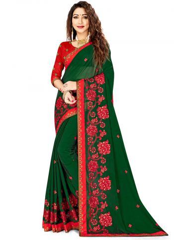 Green Rangoli Silk Festival Wear Embroidery Work Saree