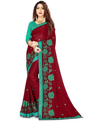 Maroon Rangoli Silk Festival Wear Embroidery Work Saree
