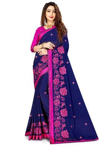 Navy Blue Rangoli Silk Festival Wear Embroidery Work Saree