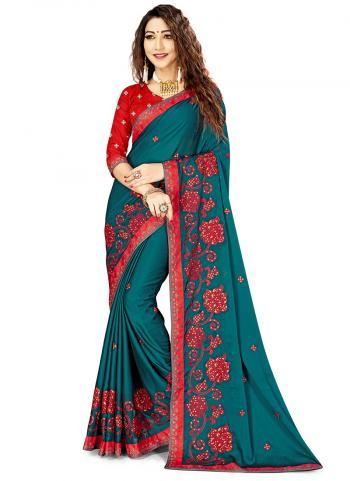 Rama Blue Rangoli Silk Festival Wear Embroidery Work Saree