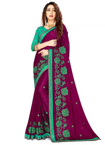 Violet Rangoli Silk Festival Wear Embroidery Work Saree