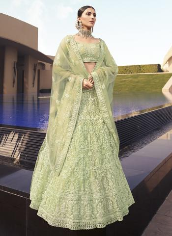 Light green Net Party Wear Embroidery Work Lehenga Choli