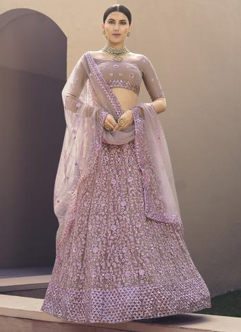 Pink Net Party Wear Embroidery Work Lehenga Choli