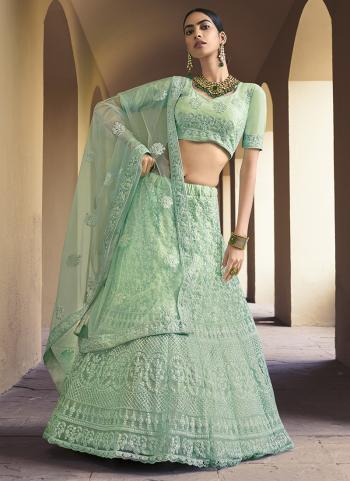 Pista Green Net Party Wear Embroidery Work Lehenga Choli