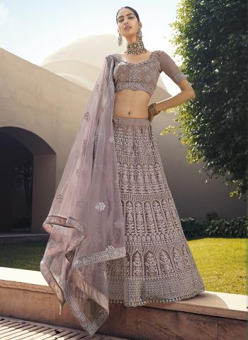 Purple Net Party Wear Embroidery Work Lehenga Choli