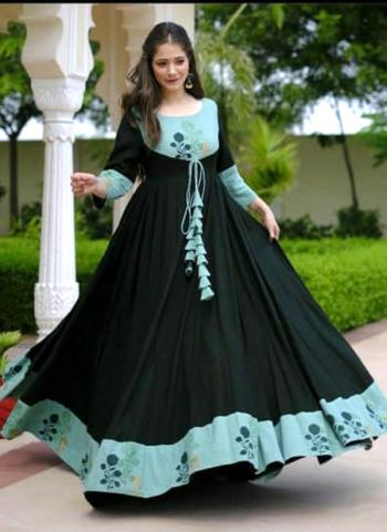 Green Fancy Casual Wear Printed Work Long Gown