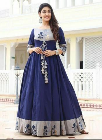 Navy Blue Fancy Casual Wear Printed Work Long Gown
