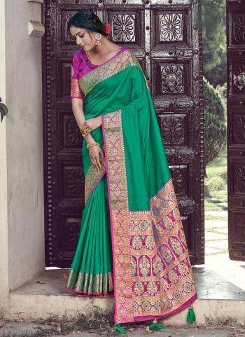 Green Silk Festival Wear Weaving Saree
