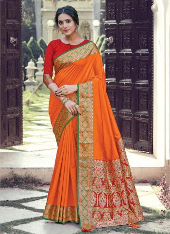 Orange Silk Festival Wear Weaving Saree